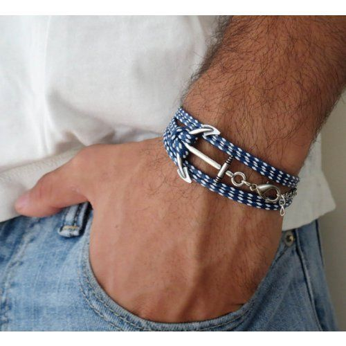 Nautical Jewelry Wrap Bracelet For Men Gray Bracelet For Men Handmade Wrap Gray and White Fabric Anchor Bracelet For Men By Galis Jewelry