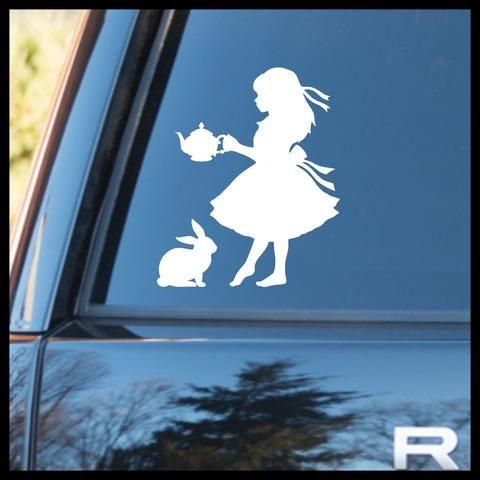 White Rabbit Alice in Wonderland Inspired Vinyl Decal Sticker Car
