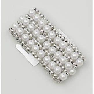 White Pearl/Silver Wristlet #wedding #pearls #bling