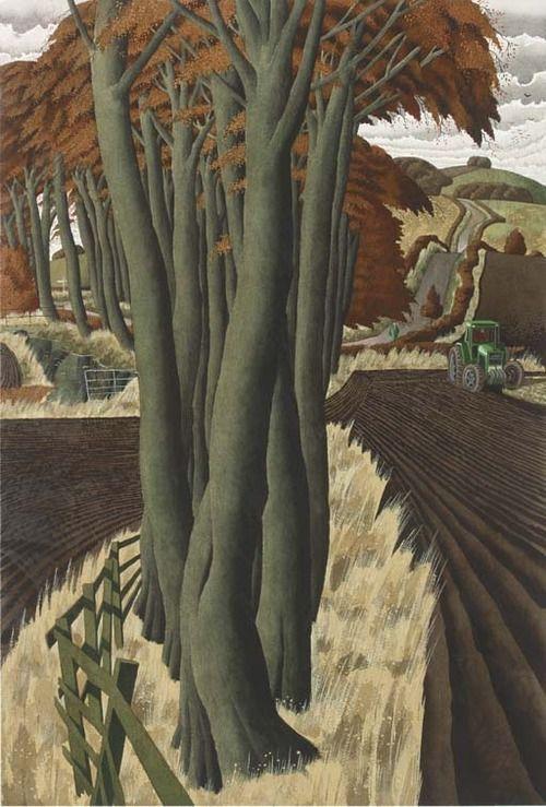 The Tractorman, Simon Palmer. English, born in 1956 - Watercolor and Bodycolor -
