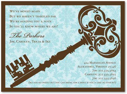 Traditional Damask Key Blue Graduation Party Invitations