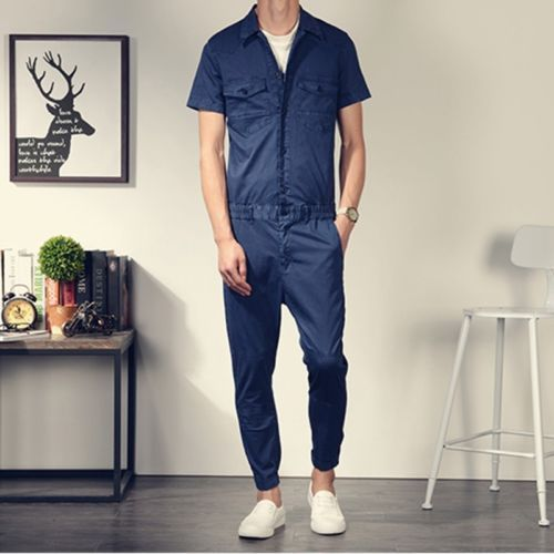 Mens Summer Short Sleeve Overalls Pants Casual Cotton Jumpsuit Rompers Trousers