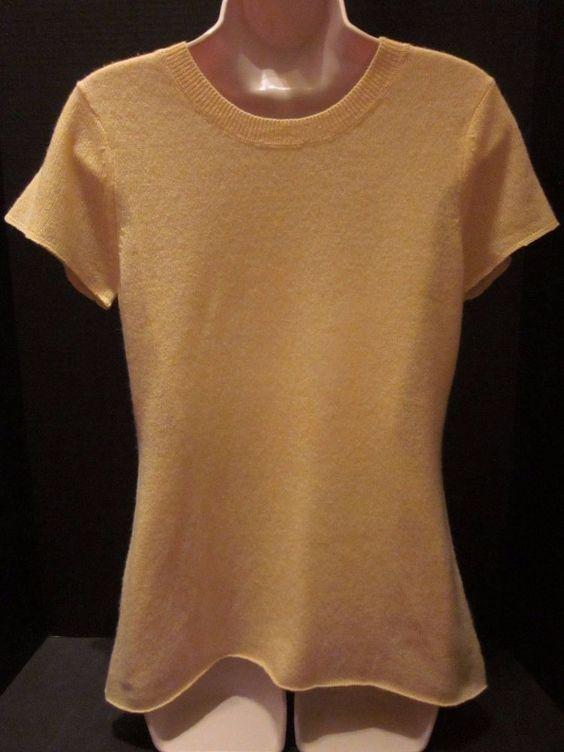 NWT Claudia Nichole Yellow Cashmere Sweater Short Sleeve Multiple Sizes Alashan…