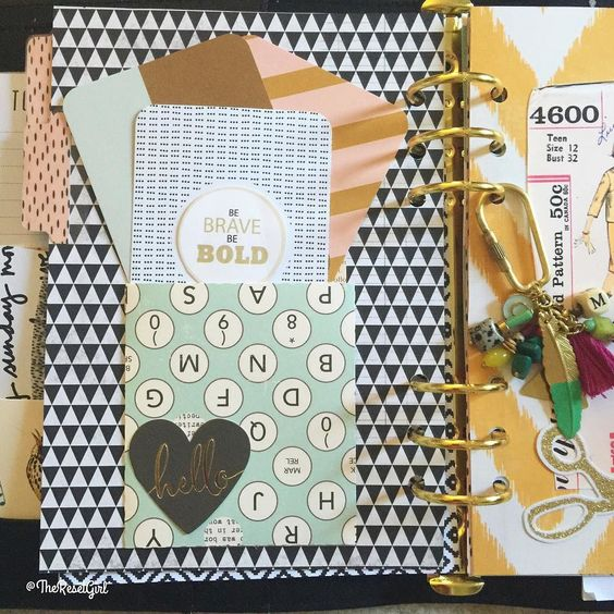 My large black @kikkik_loves planner has some beautiful dividers (if I don't say so myself) and I love adding details like my library card pockets. They are awesome for holding journal cards mini sticker sheets notes receipts...you get the idea. They are easy to embellish stamp or layer with stickers. I love them and these days they make it into every planner I set up! #theresetgirlplans #theresetgirlplanskikkik #kikkik #theresetgirlgoodideas #plannerdividers #plannerdecorating…