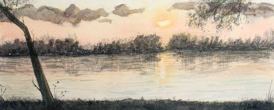 Atardecer a contraluz en acuarela. Backlit sunset in watercolor. HMZEN'14