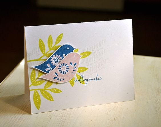 Wedding Wishes Card by Maile Belles for Papertrey Ink (October 2014) PTI songbirds