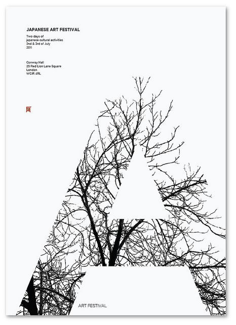 I love this. It has a great tranquil, soft beauty.first of all it reminds of the clipping mask tool in Illustrator.secondly,I love the simple black & white color scheme.I especially love how the only thing black are the tree branches,so with the white fill of the A & the white background,it's creating great negative space all over.