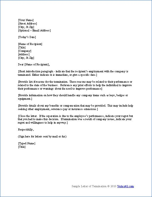 employee termination letter template loan agreement template