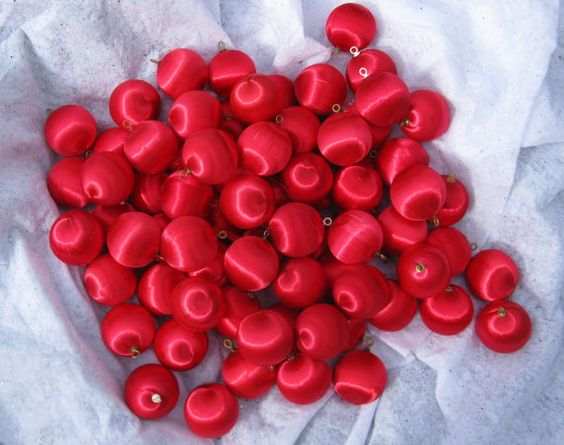 75 red satin christmas balls 2 1/2 inch by rivertownvintage