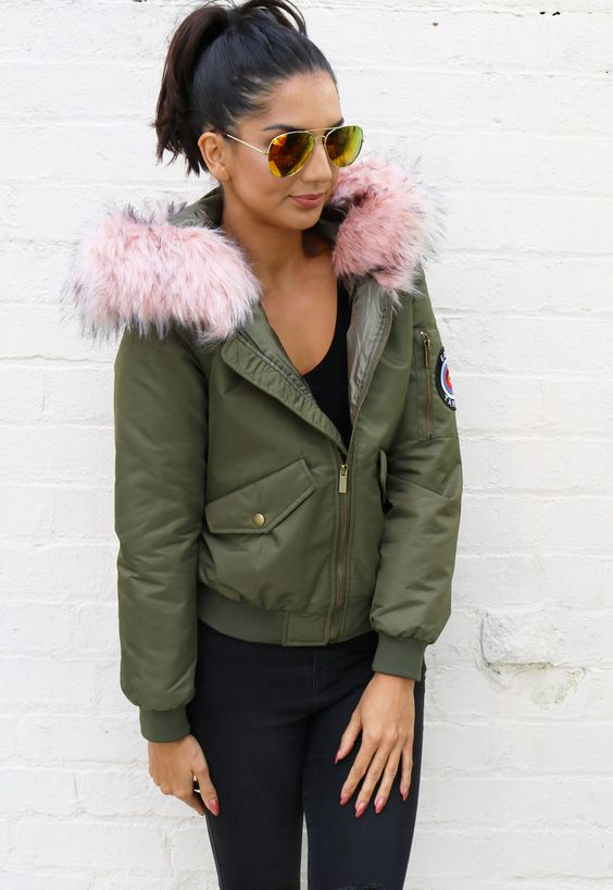 Faux Fur Trim Hooded Padded Bomber Jacket in Khaki with Pink - One Nation…