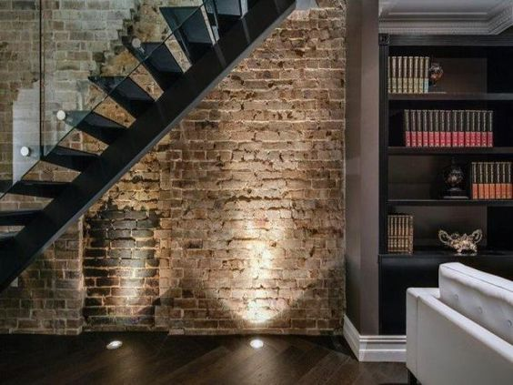brick wall floor lighting