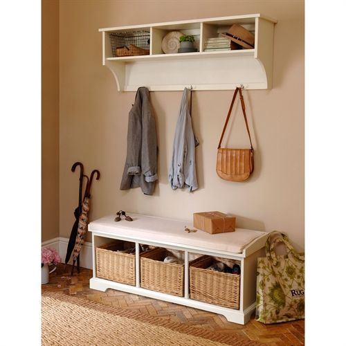White Solid Wood Bench With Storage Interior Amp Exterior: Tetbury Ivory Hall Bench And Shelf Unit Set