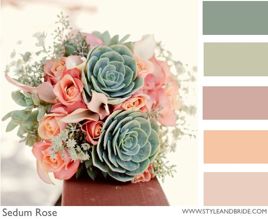 Ombre and Sage ~ Colour Play- the peaches and gold for the cake colors and your flowers will pull in the greens?