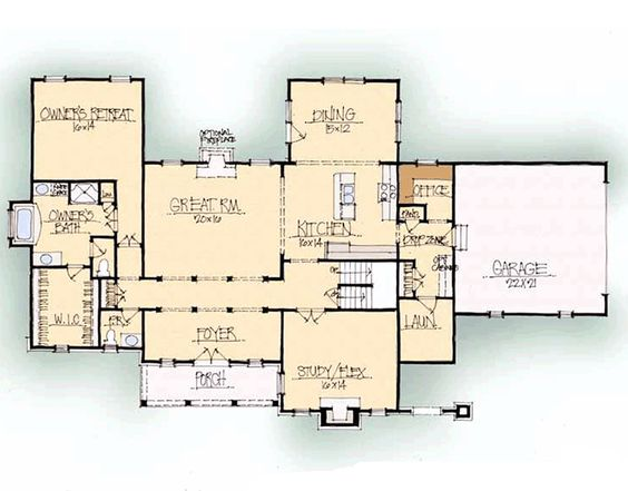 Laurence - Carolina | Schumacher Homes | I would have to add a 3 PC bath and closet to the study to make a guest room and this would be perfect