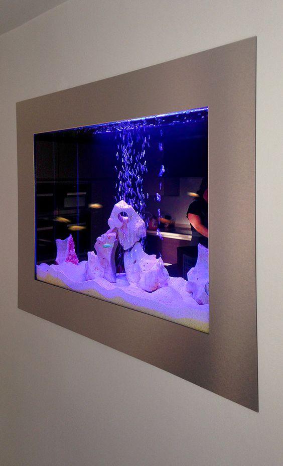 Aquarium custom built through the wall decor for Fish tank in wall