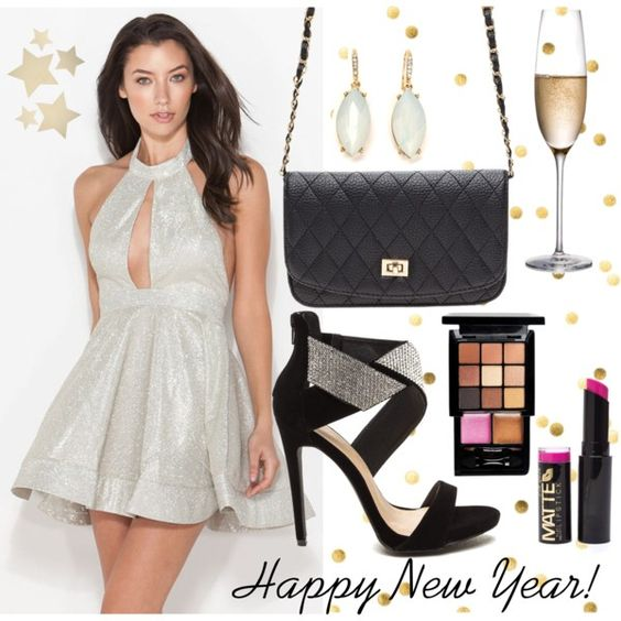 A fashion look from December 2015 by gojane featuring a sparkling dress, a chic party purse, black heels, and NYX makeup.