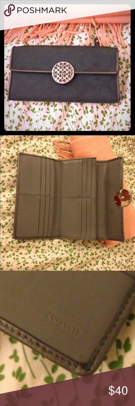 Teal Coach Wallet Lovely wallet for a classy gal. In very good condition! It's a dark teal color. Coach Bags Wallets