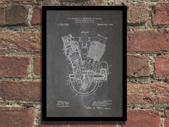 Steampunk Art Print 1914 Engine Patent Print Wall Art Poster - Chalkboard Blueprint on Etsy, $8.00