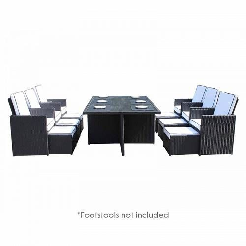 Rattan Direct Barcelona 7 Piece Rattan Garden Cube Set In Black And Vanilla Rattan Garden Furniture Outdoor Furniture Sets Cube Furniture