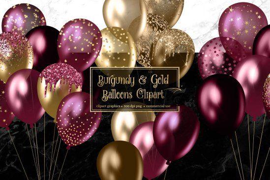 مجموعة بالونات ذهبي وعنابي بصيغة Png In 2020 Balloon Clipart Gold Balloons Balloons