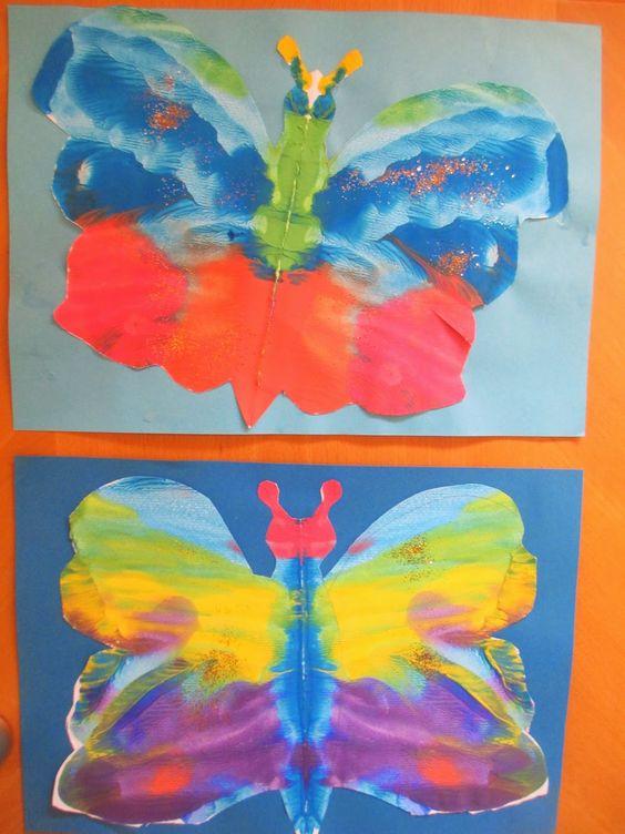 Abklatsch Schmetterling mit Wasserfarbe