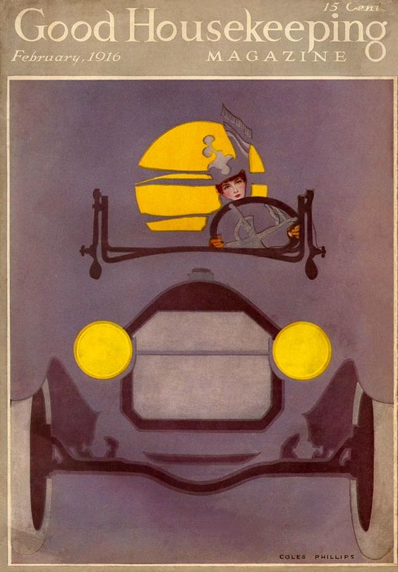 Good Housekeeping 1916-02  Woman driving her car through the dim night, the orange moon and her headlights the only bright spots as the car blends into the foggy background. Artist: Coles Phillips