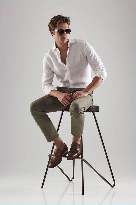 Go sockless this summer with Reiss' tan leather penny loafers $245. A Reiss linen shirt $195 and trousers $150 complete the look.