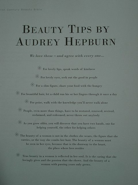 QUEEN of beauty Audrey Hepburn's tips, she is definitely my idol