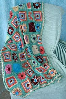 I never have liked the look of granny squares, but they make for an easy project.  Now here is a granny square blanket I love- thanks T!