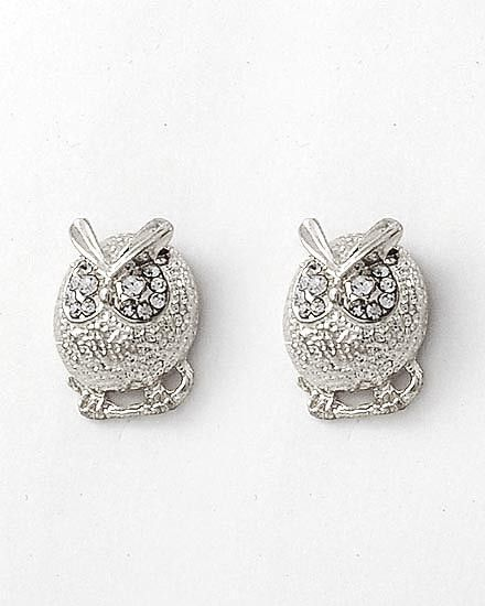 Silver Owl Button Studs