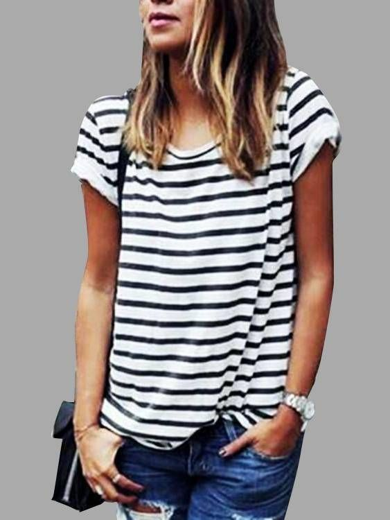 Women/'s T Shirt Striped Top Black and White Dress Crew Neck Short Sleeves