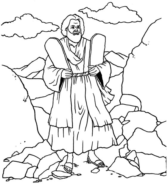 Ten Commandments (coloring).  This could work well with the lesson on Moses at http://missionbibleclass.org/old-testament-stories/old-testament-part-1/exodus-through-12-spies/the-ten-commandments/