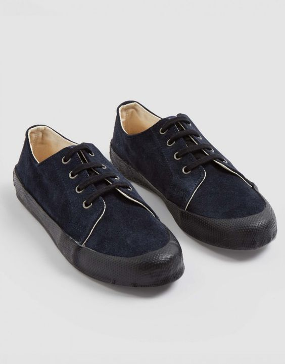 Suede Low Side Trainer (navy)