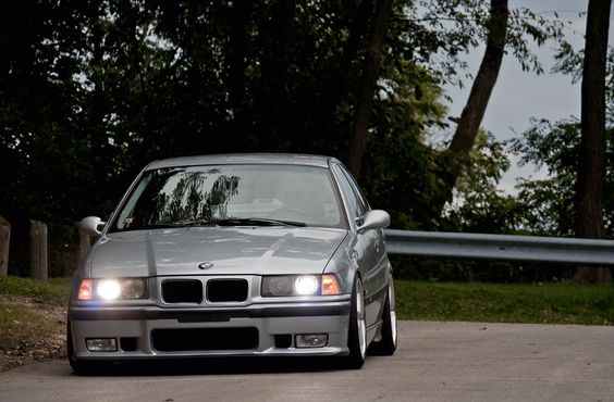 Silver BMW e36 sedan on BMW Styling 5 (BBS RC) wheels