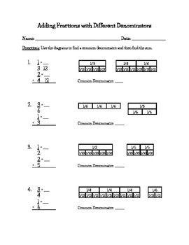 math worksheet : adding fractions fractions and worksheets on pinterest : Fractions With Unlike Denominators Worksheet