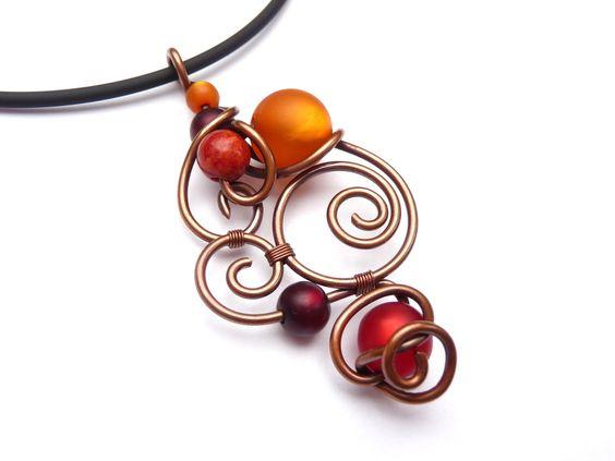 Halskette ♥ 1001 Nacht ♥ Drahtschmuck Rot & Orange