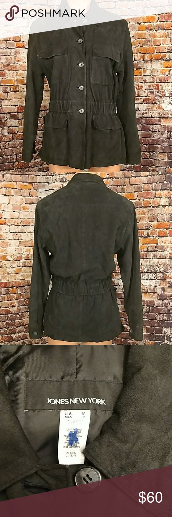 Suede Leather Jacket Black suede leather jacket. Button front, four front flap pockets fully lined , side vents , button cuff, elasticized waist. Jones New York size medium. 19 inches across chest lying flat, 27 1/2 inches long. Jones New York Jackets & Coats