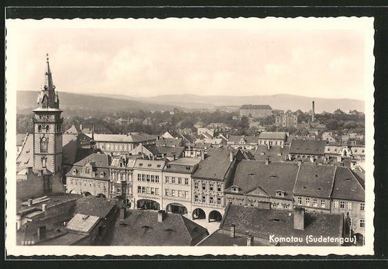 old postcard: AK Komotau / Chomutov, Blick über die Dächer der Stadt