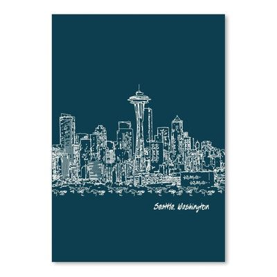 Americanflat Skyline Seattle 3 by Brooke Witt Graphic Art in Dark Blue Size: