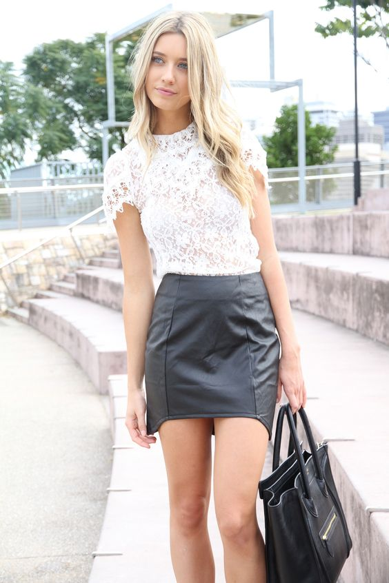 Lace top with leather skirt | Clothes I can't afford | Pinterest ...