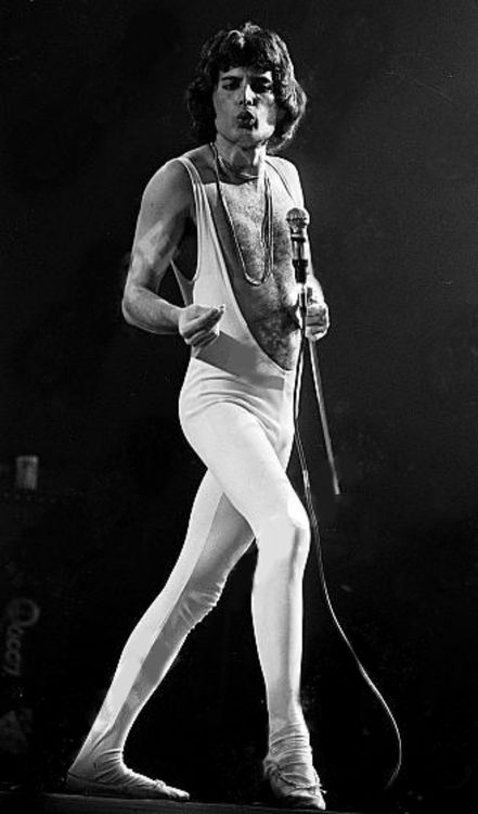 Freddie Mercury on stage at Madison Square Garden, 1977.