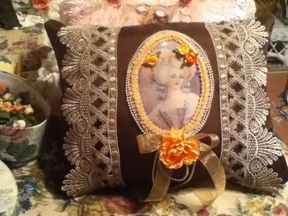 Brown silk throw pillow with image of Victorian by cindysvictorian, $19.50