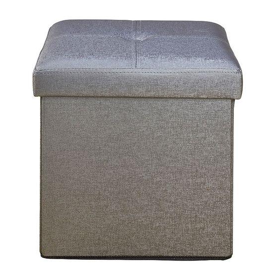 Simplify Faux Leather Folding Storage Ottoman Cube, Grey - Simplify Faux Leather Folding Storage Ottoman Cube, Grey