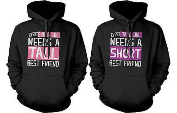 Cute BFF Matching Hoodie Sweatshirts for Tall and Short Best Friends we sooo need these!!! @hannahzabriskie