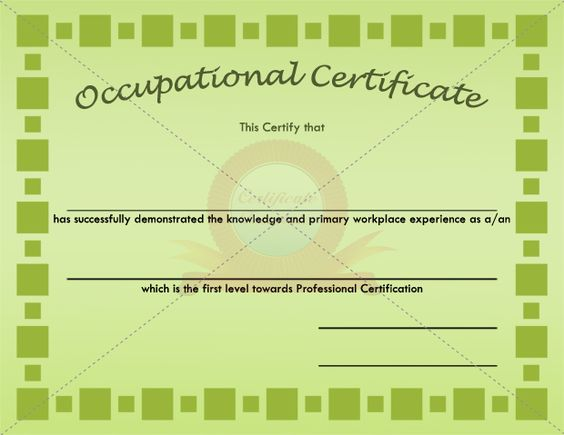 Occupational Block Certificate Template OCCUPATIONAL CERTIFICATE - fake divorce certificate