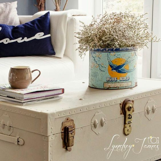 Painted vintage trunk in Annie Sloan Country Grey