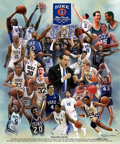 Duke Blue Devils Basketball 26 Legends Commemorative Print - Wishum Gregory