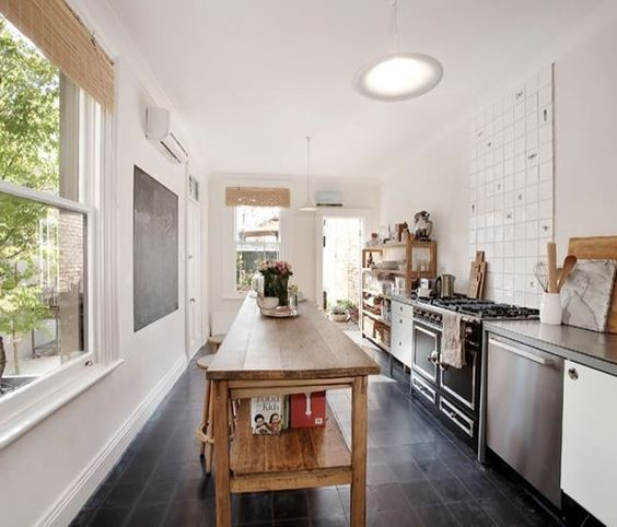 Long Narrow Kitchen With Island: Simplicity & Integrity :: The Victorian Terrace Of An