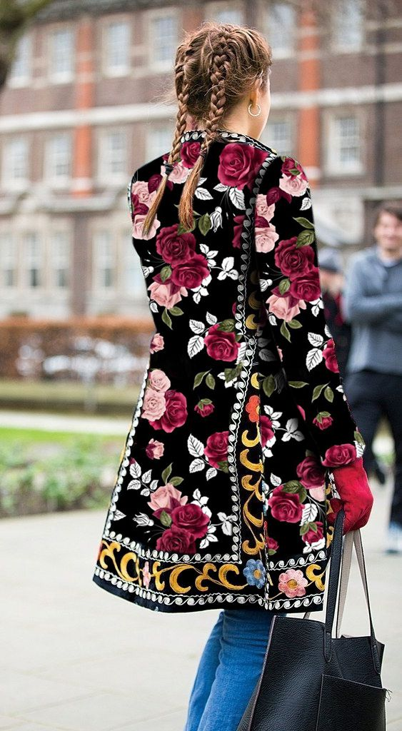 Fashion Floral Printed Long Sleeve Coat – Sheaim