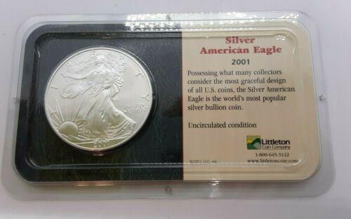 Bullion 5 2001 1 One Oz Ounce Fine Silver American Eagle Dollars Littleton Coin Co Bullion Fine Silver Silver Bullion Coins